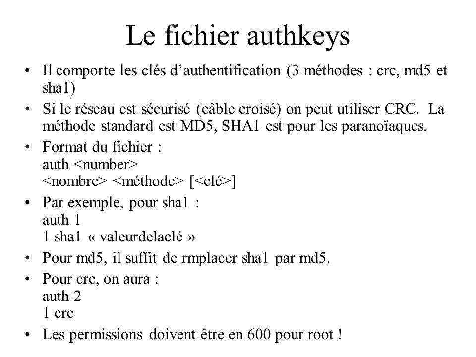 Le fichier authkeys Il comporte les clés d'authentification (3 méthodes : crc, md5 et sha1)
