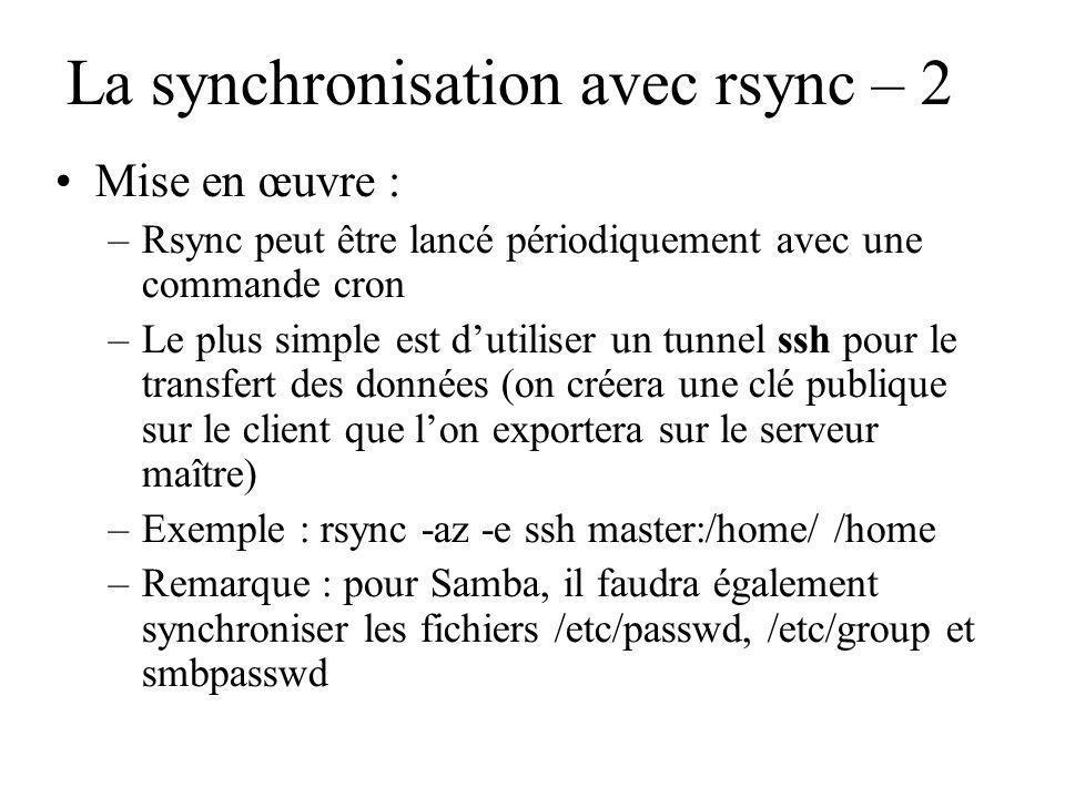 La synchronisation avec rsync – 2