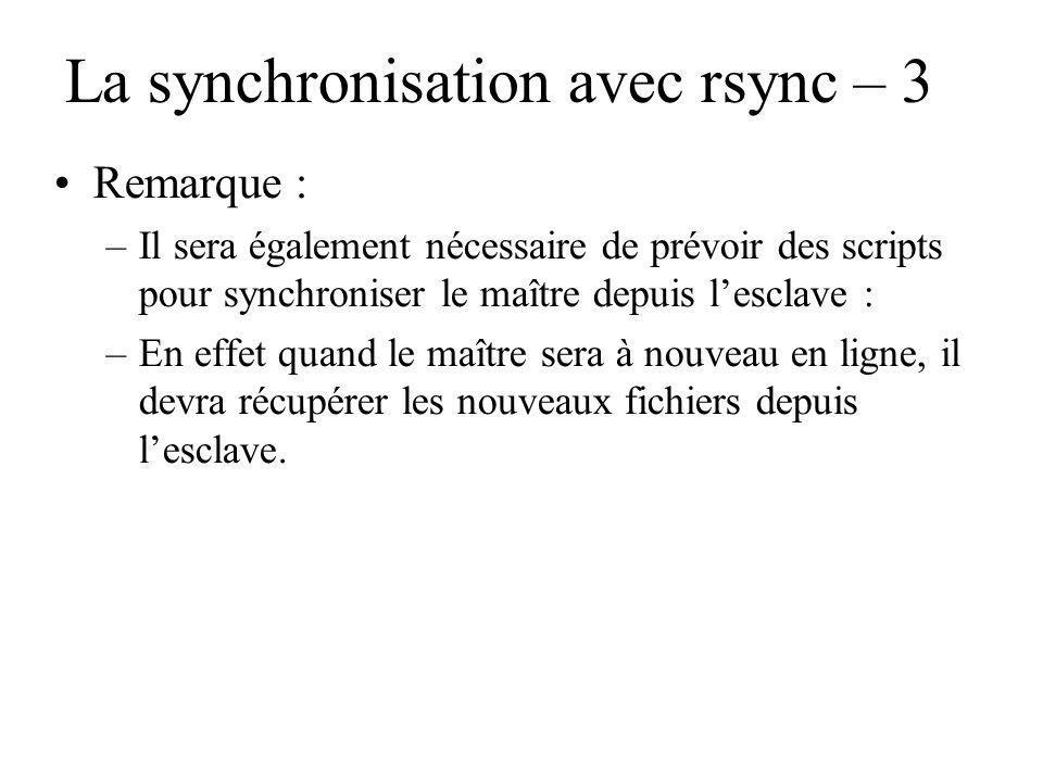 La synchronisation avec rsync – 3