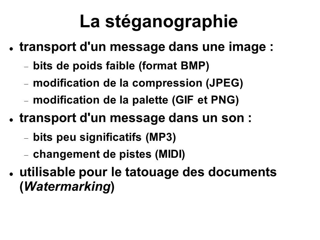 La stéganographie transport d un message dans une image :