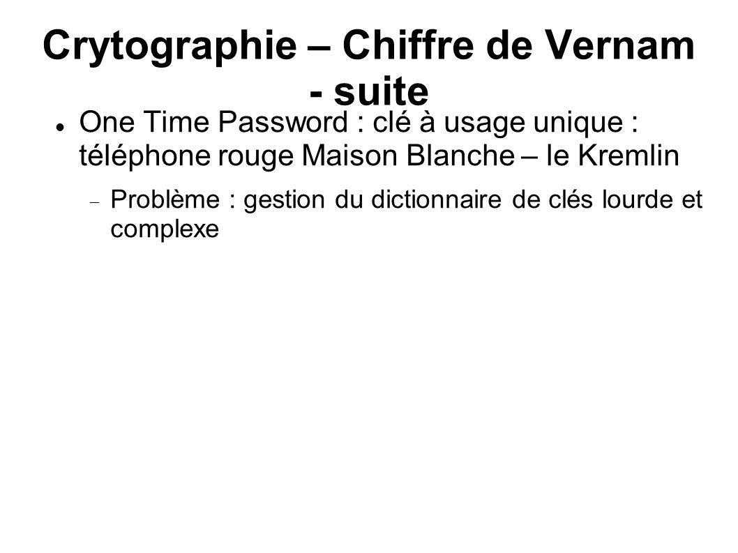 Crytographie – Chiffre de Vernam - suite