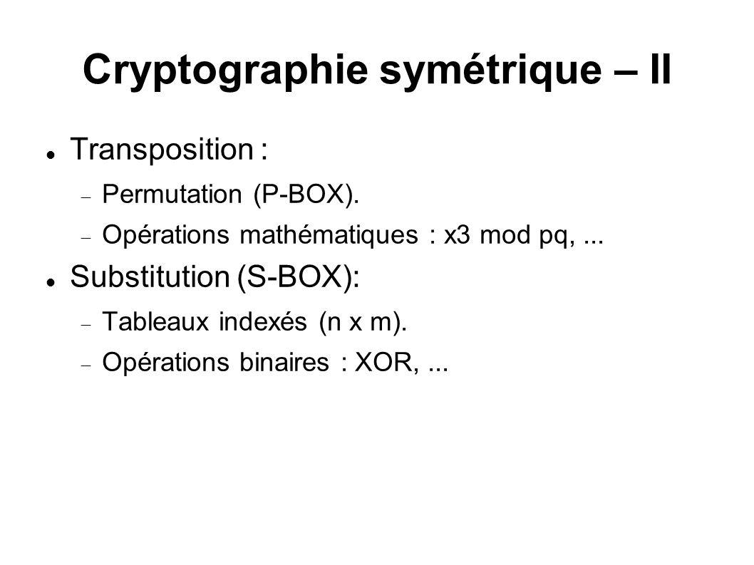 Cryptographie symétrique – II