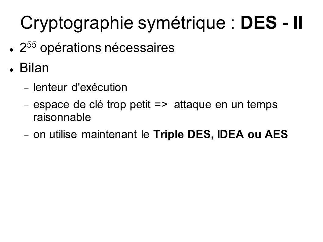Cryptographie symétrique : DES - II