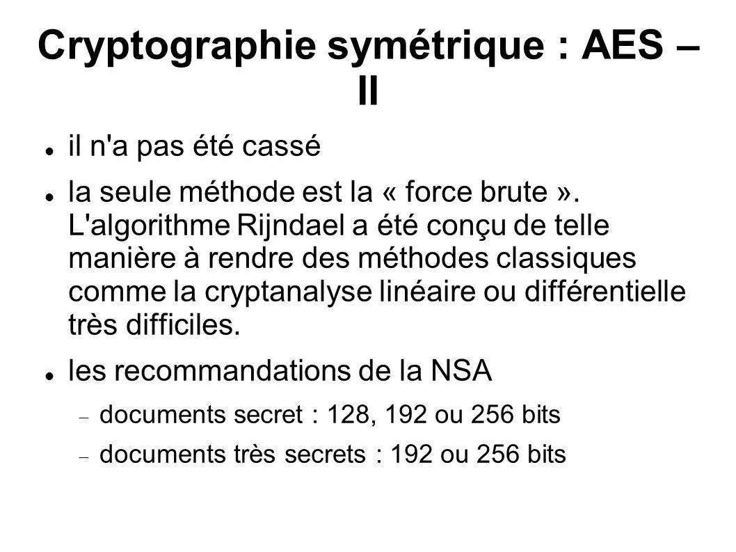 Cryptographie symétrique : AES – II