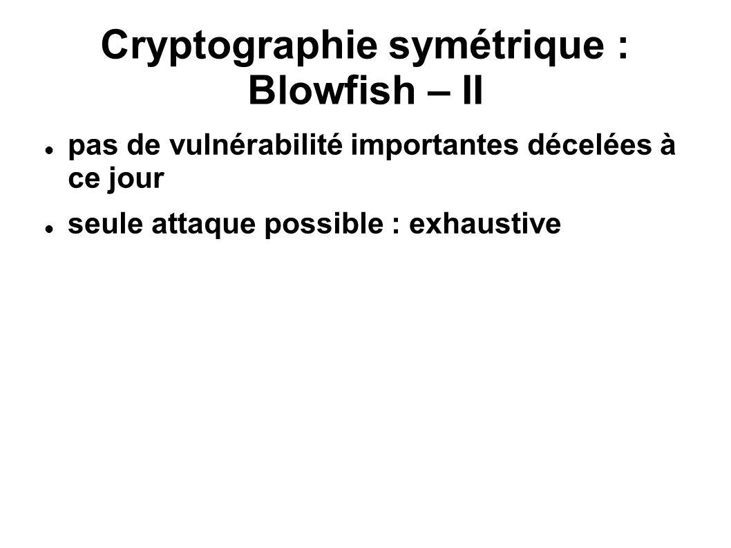 Cryptographie symétrique : Blowfish – II