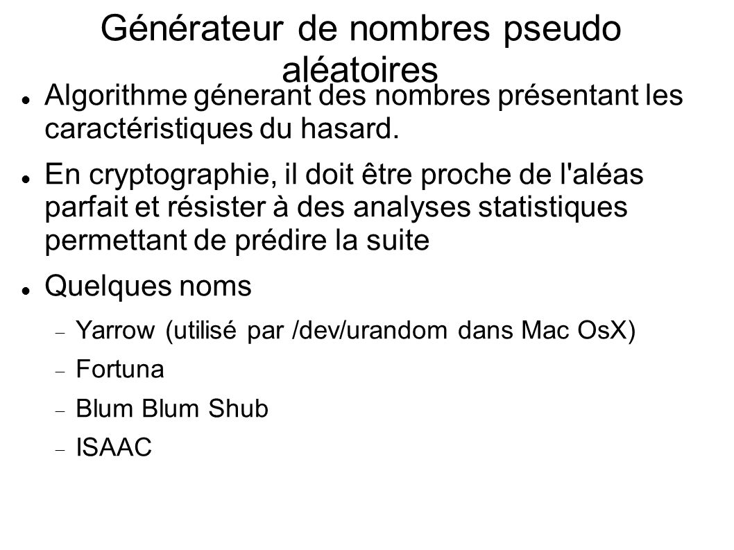 Générateur de nombres pseudo aléatoires