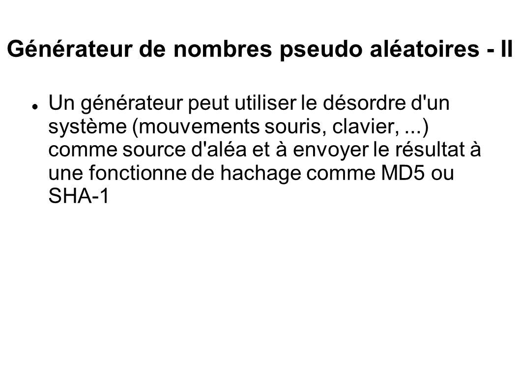 Générateur de nombres pseudo aléatoires - II