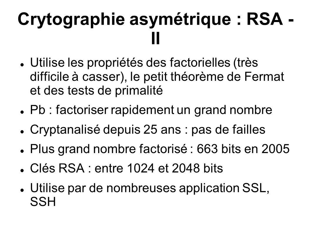 Crytographie asymétrique : RSA - II