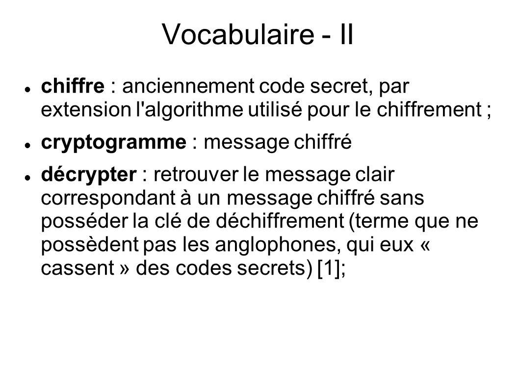 Vocabulaire - II chiffre : anciennement code secret, par extension l algorithme utilisé pour le chiffrement ;