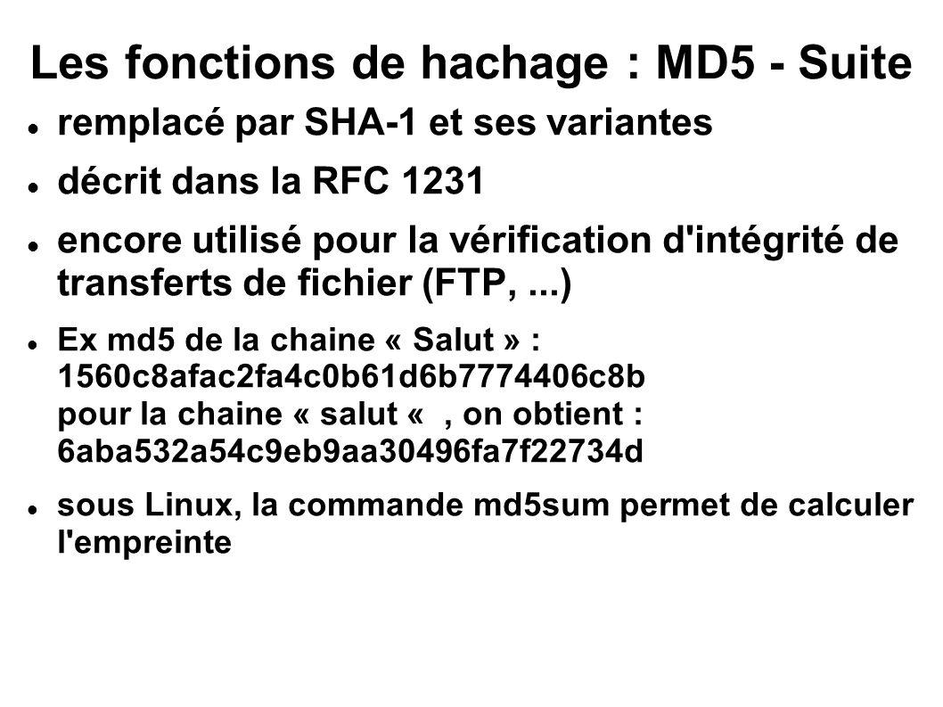 Les fonctions de hachage : MD5 - Suite