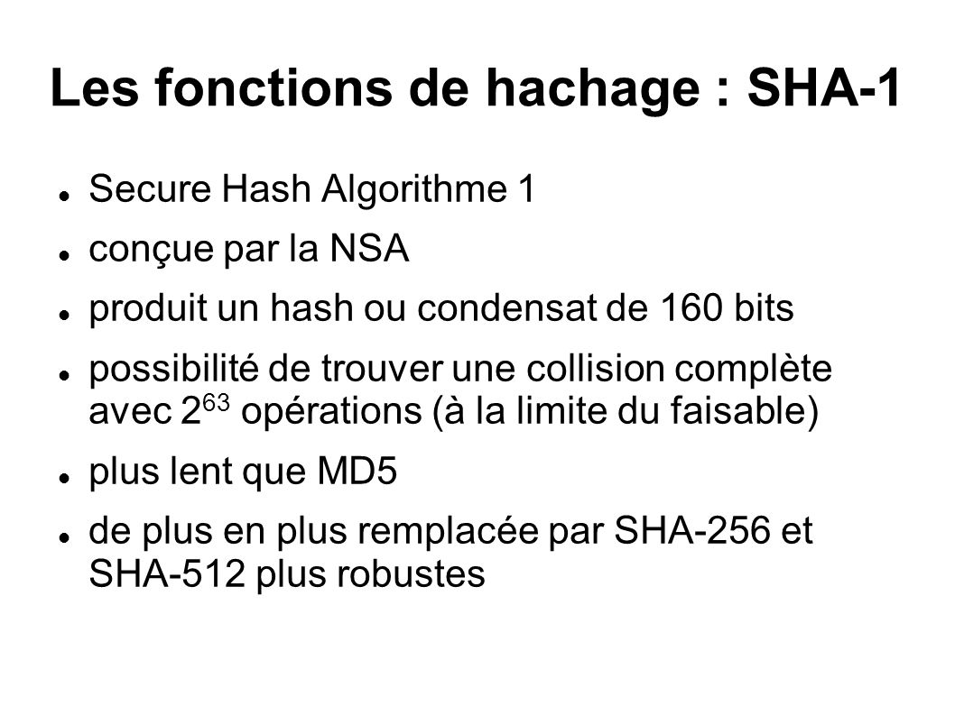 Les fonctions de hachage : SHA-1