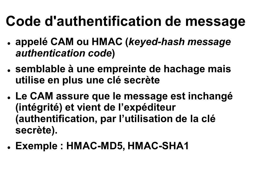 Code d authentification de message