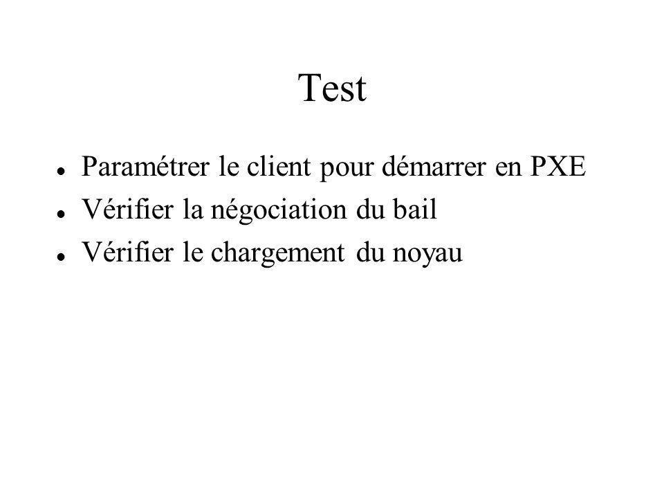 Test Paramétrer le client pour démarrer en PXE