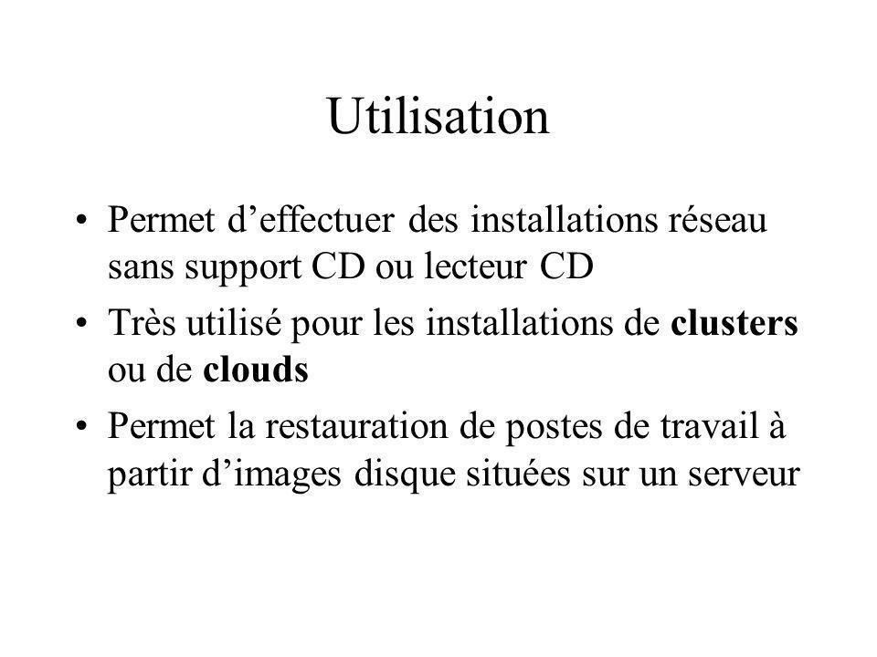 Utilisation Permet d'effectuer des installations réseau sans support CD ou lecteur CD.