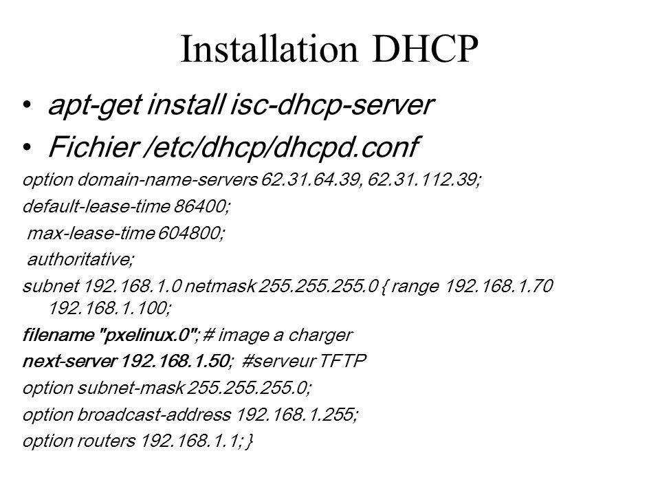 Installation DHCP apt-get install isc-dhcp-server