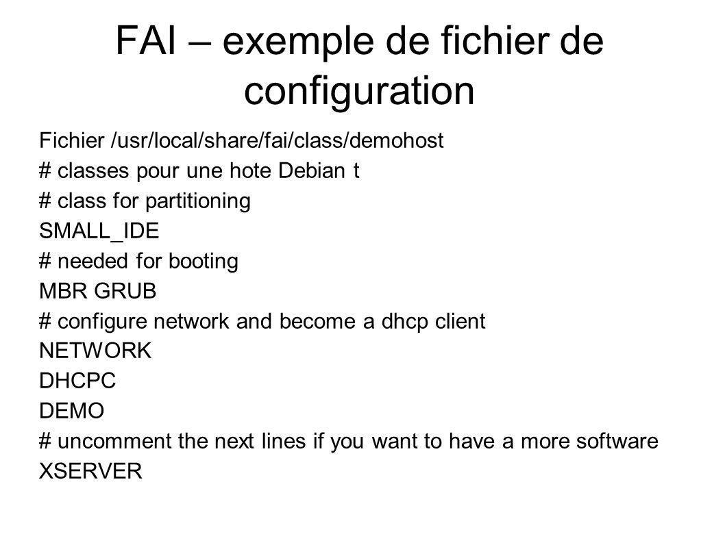 FAI – exemple de fichier de configuration