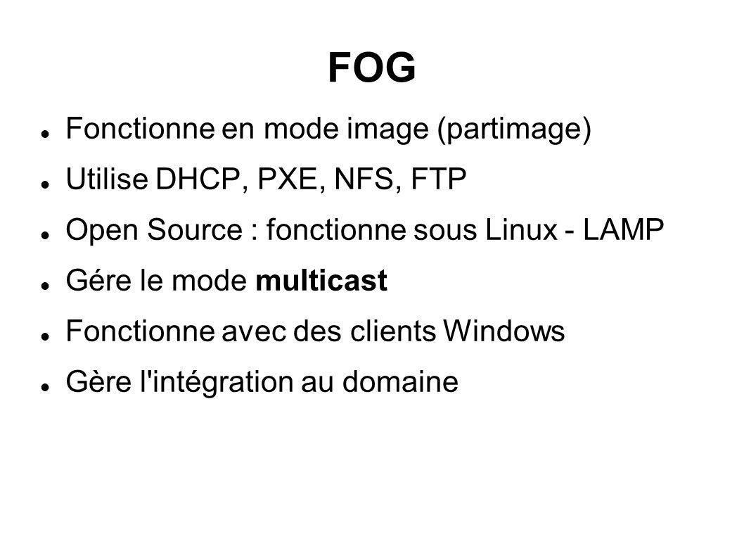 FOG Fonctionne en mode image (partimage) Utilise DHCP, PXE, NFS, FTP