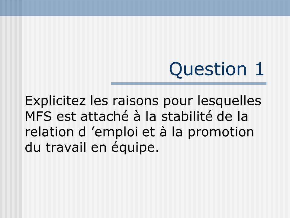 Question 1 Explicitez les raisons pour lesquelles MFS est attaché à la stabilité de la relation d 'emploi et à la promotion du travail en équipe.