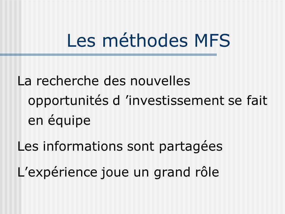Les méthodes MFS La recherche des nouvelles opportunités d 'investissement se fait en équipe. Les informations sont partagées.