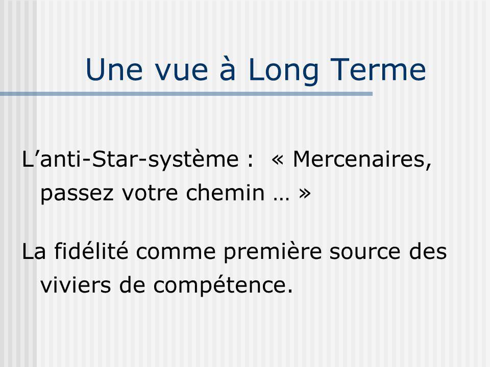 Une vue à Long Terme L'anti-Star-système : « Mercenaires, passez votre chemin … » La fidélité comme première source des viviers de compétence.