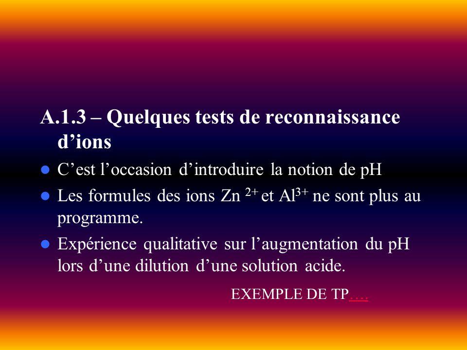 A.1.3 – Quelques tests de reconnaissance d'ions