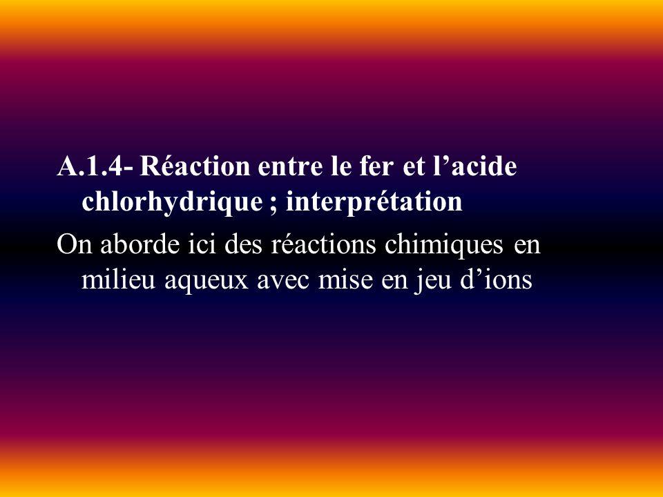 A.1.4- Réaction entre le fer et l'acide chlorhydrique ; interprétation
