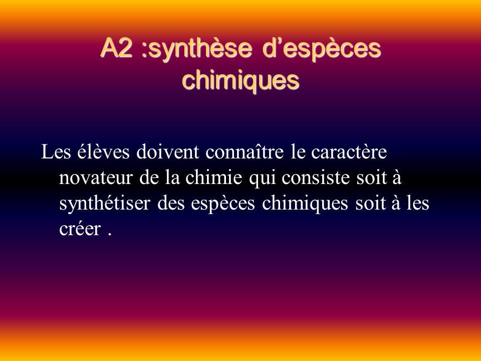 A2 :synthèse d'espèces chimiques