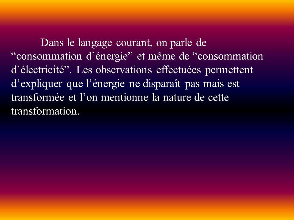 Dans le langage courant, on parle de consommation d'énergie et même de consommation d'électricité .