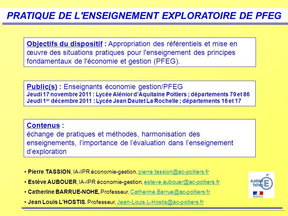 PRATIQUE DE L ENSEIGNEMENT EXPLORATOIRE DE PFEG