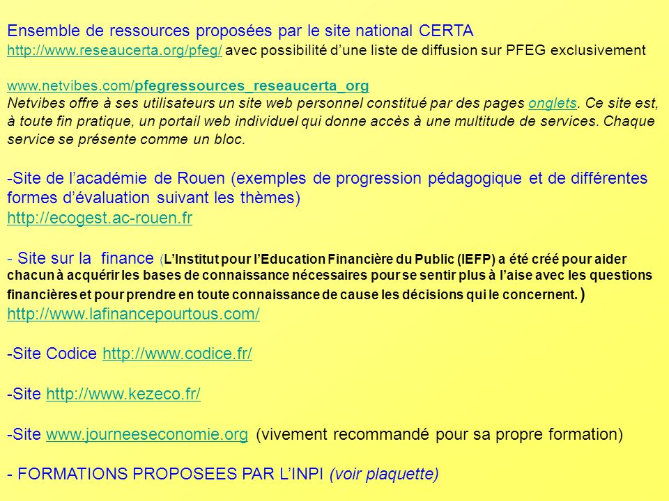 Ensemble de ressources proposées par le site national CERTA