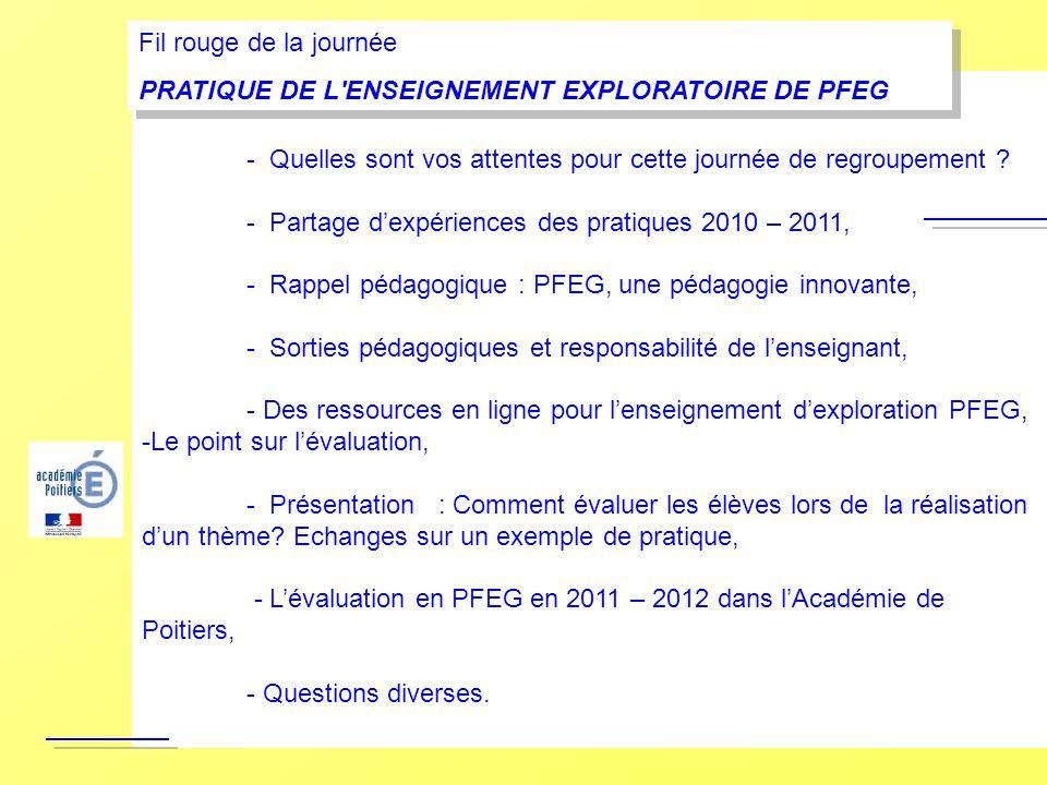 Fil rouge de la journée PRATIQUE DE L ENSEIGNEMENT EXPLORATOIRE DE PFEG. - Rappels sur l'enseignement d'exploration PFEG,