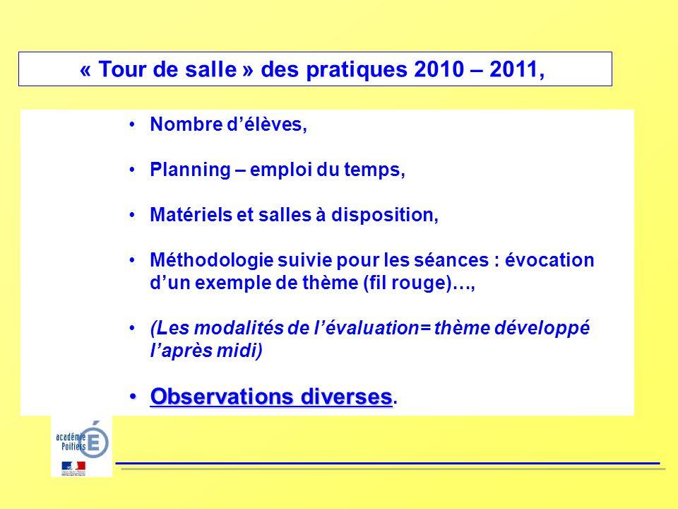 « Tour de salle » des pratiques 2010 – 2011,