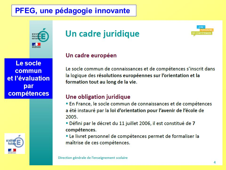 PFEG, une pédagogie innovante et l'évaluation par compétences