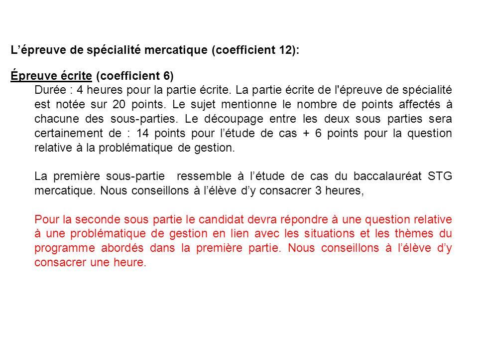 L'épreuve de spécialité mercatique (coefficient 12):