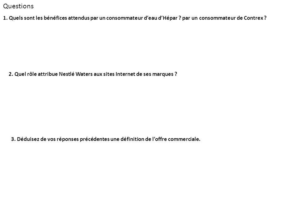 Questions 1. Quels sont les bénéfices attendus par un consommateur d'eau d'Hépar par un consommateur de Contrex