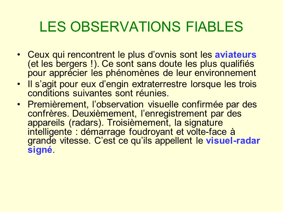 LES OBSERVATIONS FIABLES