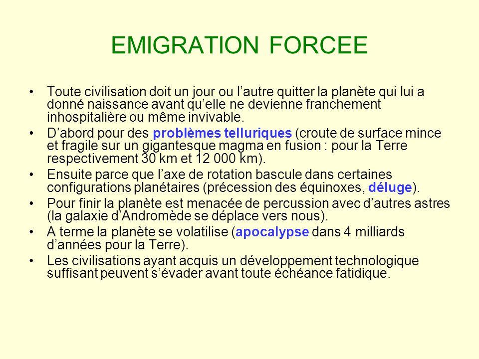 EMIGRATION FORCEE