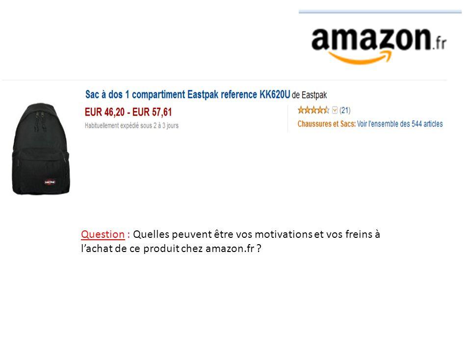 Question : Quelles peuvent être vos motivations et vos freins à l'achat de ce produit chez amazon.fr