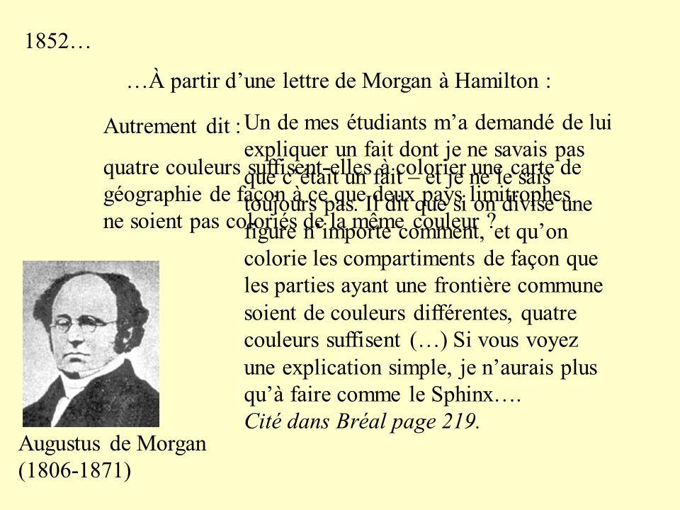 1852… …À partir d'une lettre de Morgan à Hamilton : Autrement dit :