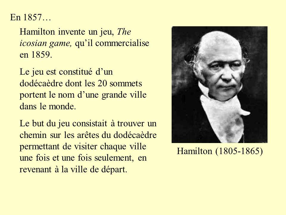 En 1857… Hamilton invente un jeu, The icosian game, qu'il commercialise en 1859.