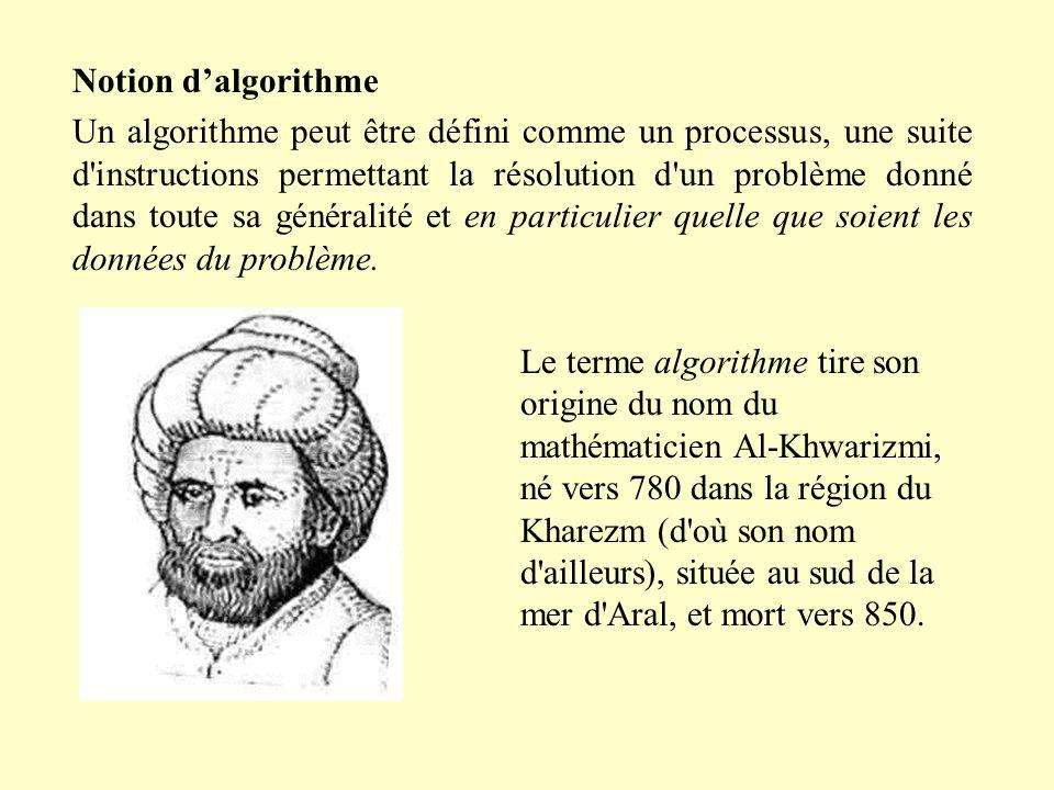 Notion d'algorithme