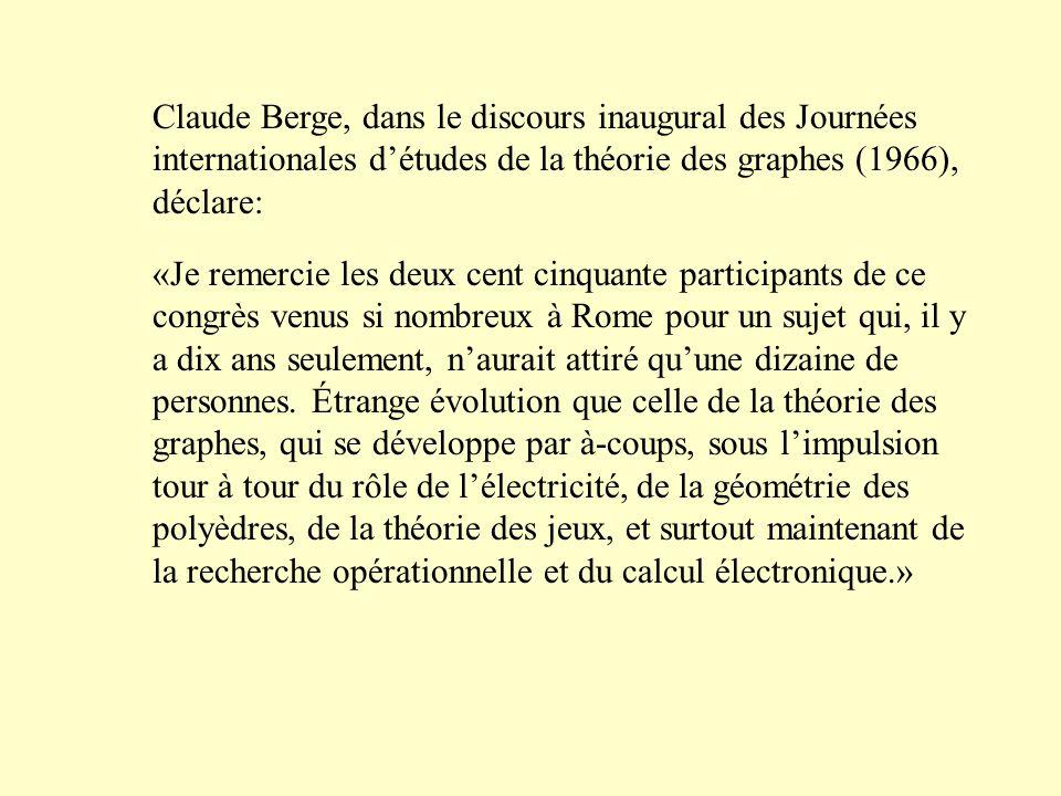 Claude Berge, dans le discours inaugural des Journées internationales d'études de la théorie des graphes (1966), déclare: