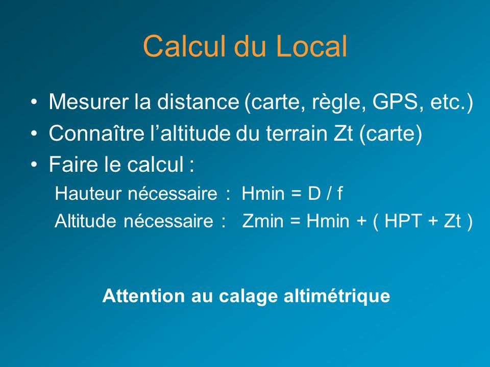 Attention au calage altimétrique