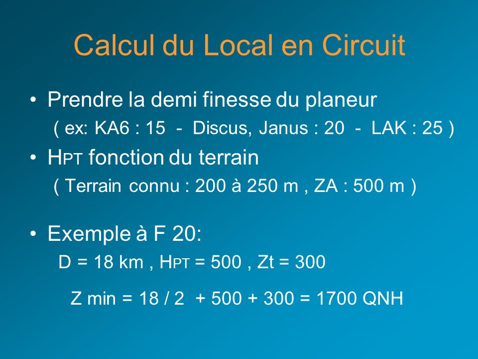 Calcul du Local en Circuit