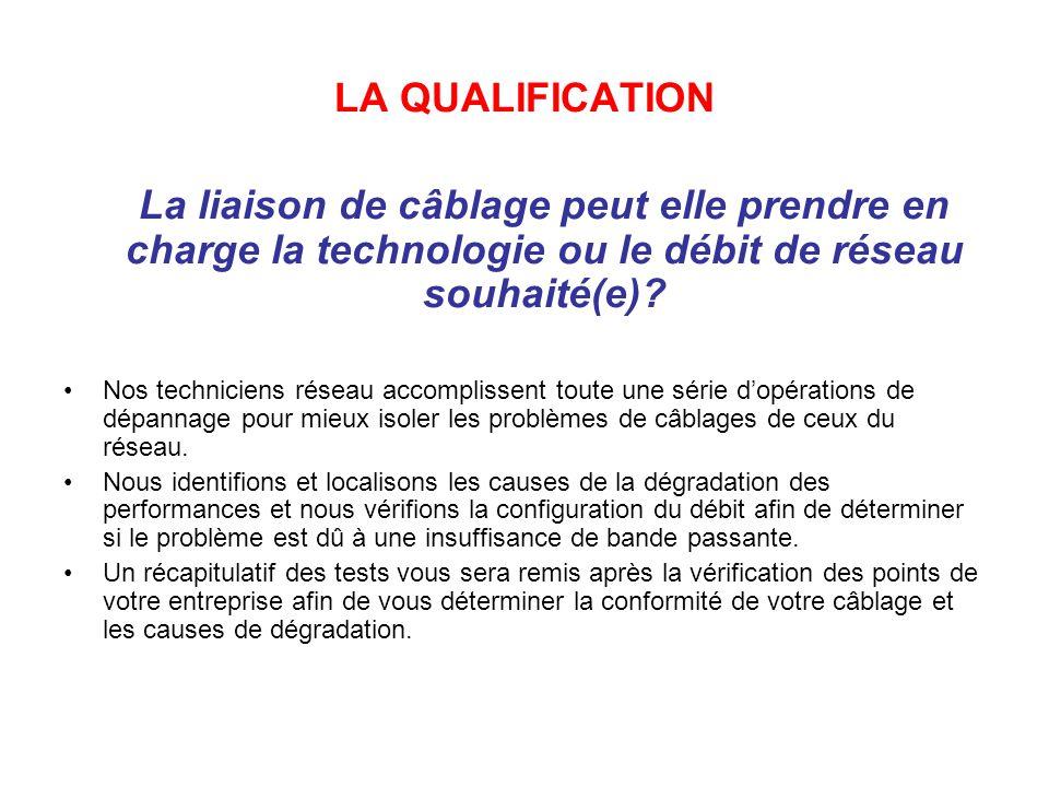 LA QUALIFICATION La liaison de câblage peut elle prendre en charge la technologie ou le débit de réseau souhaité(e)