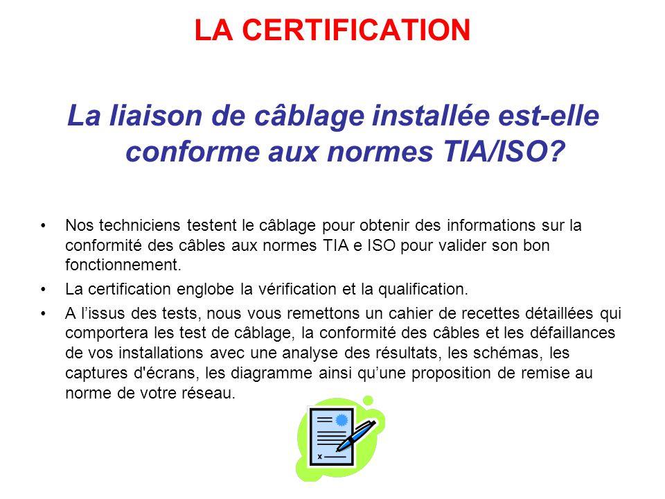 La liaison de câblage installée est-elle conforme aux normes TIA/ISO