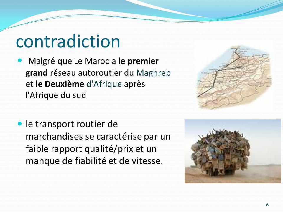 contradiction Malgré que Le Maroc a le premier grand réseau autoroutier du Maghreb et le Deuxième d Afrique après l Afrique du sud.