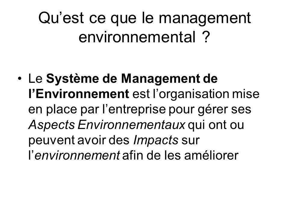 Qu'est ce que le management environnemental