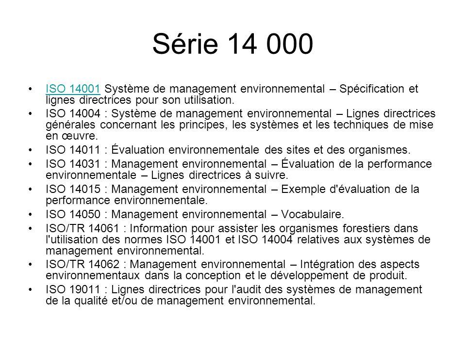 Série 14 000 ISO 14001 Système de management environnemental – Spécification et lignes directrices pour son utilisation.