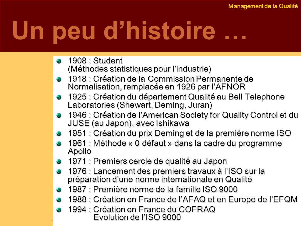 Un peu d'histoire … 1908 : Student (Méthodes statistiques pour l'industrie)